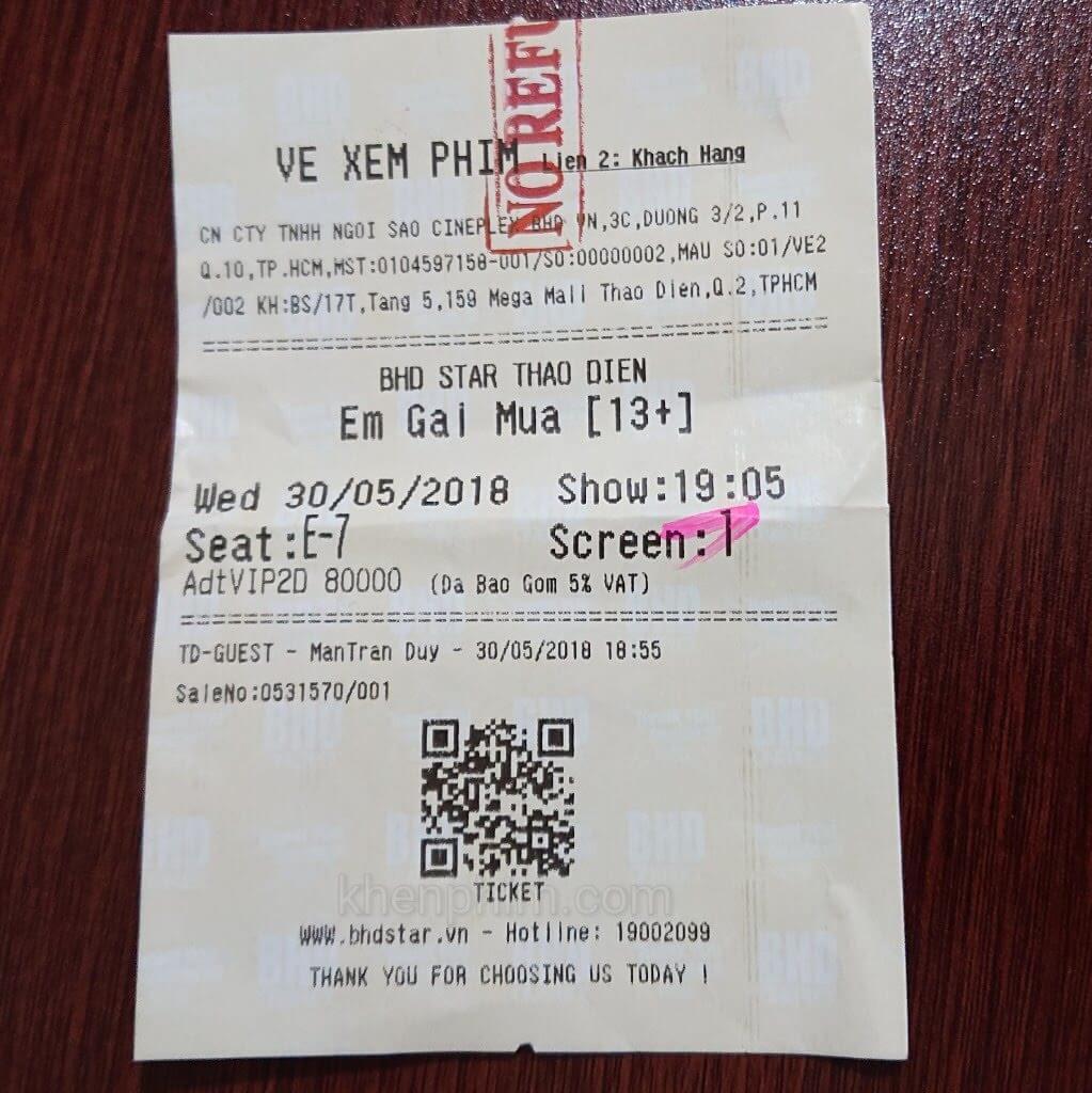 Vé xem phim Em Gái Mưa